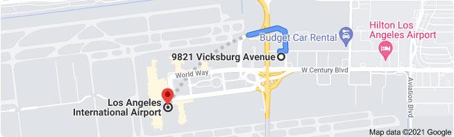 9821 Vicksburg Ave to lax airport