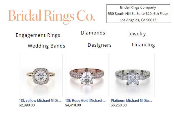 Bridal Rings Company showroom in Los Angeles